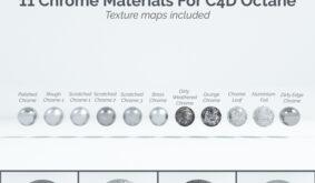 11 Chrome Materials for C4D Octane render