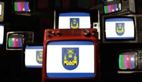 Flag of the City of Mettmann (Germany) on Retro TVs.