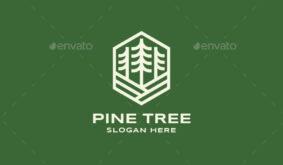 Pine Tree Badge Logo Template
