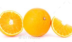 Orange fruit sliced juicy isolated on white background, closeup