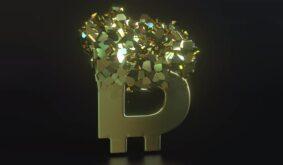 Collapsing Golden Bitcoin Sign