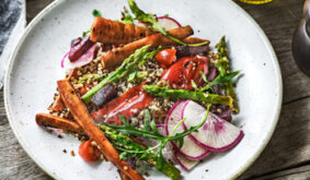Charred Asparagus Pepper Baby Carrot with Quinoa Salad