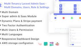 Multi-Tenancy Laravel Admin Saas – Domains, Users, Role, Permissions & Settings