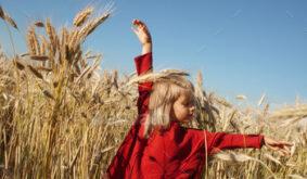 Little Happy Girl in Red Dress on a Sunny Field of Rye